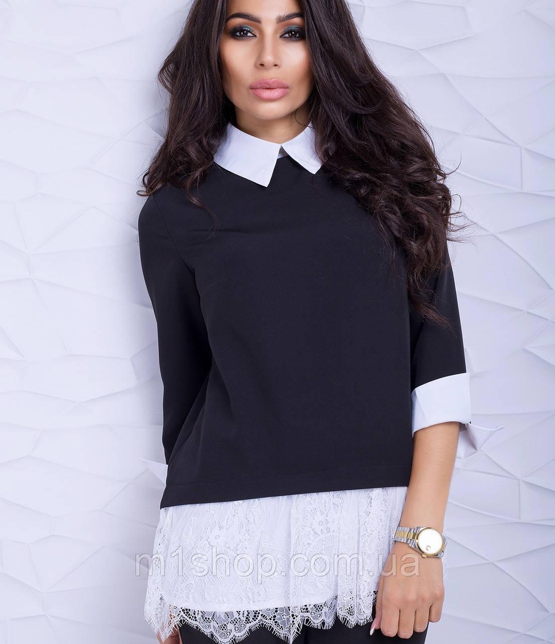 Женская блузка-туника с кружевом (Ителия lzn)