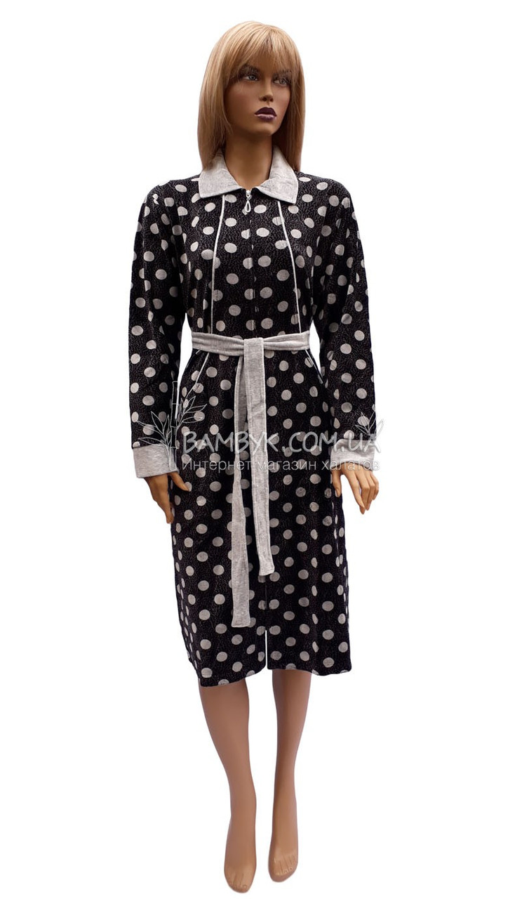 Халат женский средней длины (велюровый) Birlik № 7891