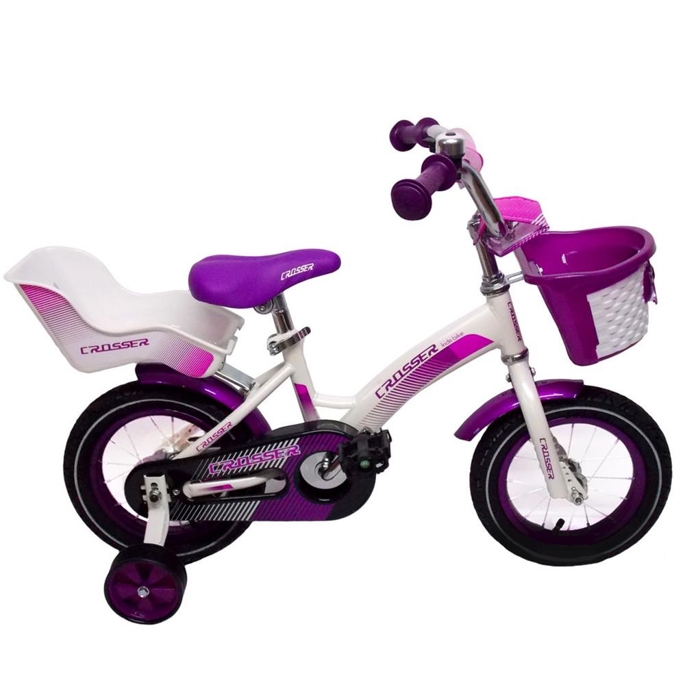 """Дитячий велосипед CROSSER KIDS BIKE C-3 ,16"""" Білий/фіолетовий"""