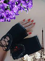 Перчатки митенки кашемировые черный на шнуровке