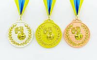 Медаль спортивная с лентой двухцветная d-6,5см Волейбол (металл, 56 g)