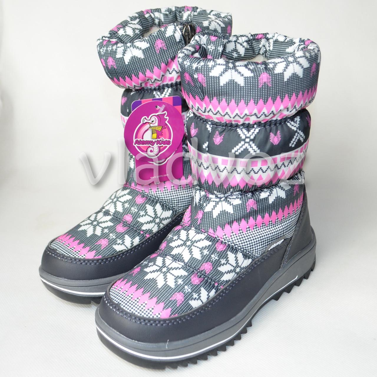 Детские зимние дутики на зиму для девочки сапоги серые узоры 32р.