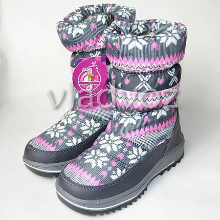 Детские зимние дутики на зиму для девочки сапоги серые узоры 32р., фото 2