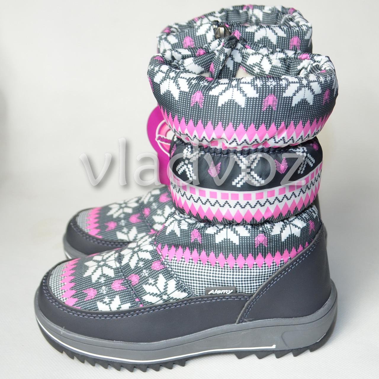 Дутики на зиму для девочки сапоги узоры