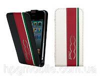 Чехол для iPhone 4/4s - FIAT 500 Stripes flip leather case