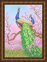 Схема для частичной вышивки бисером - Павлины на ветке сакуры, Арт. ЖБч2-3-2