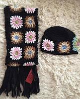 Шапка с шарфом из ангоры комплект черный