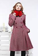 Элегантное двубортное шерстяное пальто приталенного фасона с клешенной юбкой