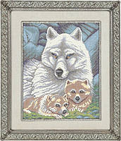Схема для полной вышивки бисером - Волчица с волчатами, Арт. ЖБп3-2