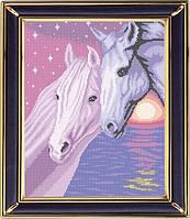 Схема для полной вышивки бисером - Пара лошадей на закате, Арт. ЖБп3-10