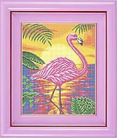 Схема для полной вышивки бисером - Розовый фламинго в лучах заката, Арт. ЖБп3-18