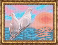 Схема для полной вышивки бисером - Голуби на закате, Арт. ЖБп3-41