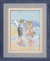 Схема для полной вышивки бисером - Дети на берегу моря, Арт. ЛБп3-1