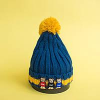 Синяя детская шапка с помпоном