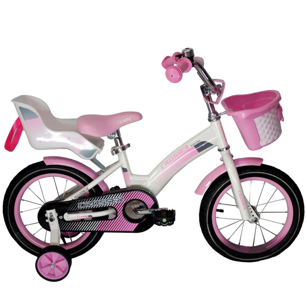 """Детский велосипед CROSSER KIDS BIKE C-3, 18""""  Белый/розовый"""