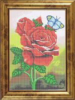 Схема для полной вышивки бисером - Розы и бабочка, Арт. НБп3-25
