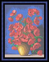 Схема для полной вышивки бисером - Маки в глиняной вазе, Арт. НБп3-29-2