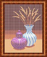 Схема для полной вышивки бисером - Натюрморт из вазы и графина, Арт. НБп3-34