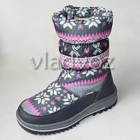 Модные дутики на зиму для девочки сапоги серые узоры 33р.