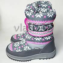 Модные дутики на зиму для девочки сапоги серые узоры 33р., фото 2