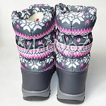 Модные дутики на зиму для девочки сапоги серые узоры 33р., фото 3