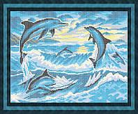 Схема для полной вышивки бисером - Парад дельфинов, Арт. ПБп3-20