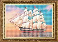 Схема для полной вышивки бисером - Кораблик в море, Арт. ПБп3-17