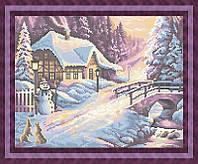 Схема для полной вышивки бисером - Зимний розовый закат, Арт. ПБп3-22