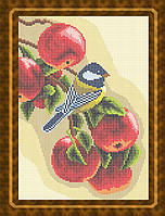 Схема для полной вышивки бисером - Синичка на яблоках, Арт. ЖБп4-9