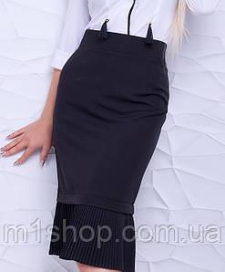 Женская юбка с плиссировкой понизу больших размеров (Альбина lzn)