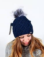 """Женская шапка с помпоном """"3313"""" синий, фото 1"""