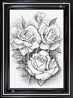 Схема для полной вышивки бисером - Черно-белый букет роз, Арт. НБп4-20