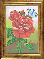 Схема для полной вышивки бисером - Букет роз и бабочка, Арт. НБп4-25