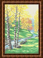 Схема для полной вышивки бисером - Березки у реки, Арт. ПБп4-8