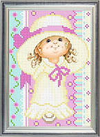 Схема для частичной вышивки бисером - Девочка в шляпе, Арт. ДБч5-2
