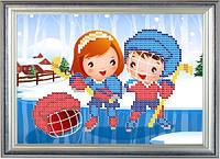 Схема для частичной вышивки бисером - Детская вышивка - дети и хоккей, Арт. ДБч5-11