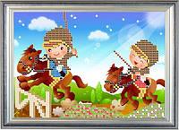 Схема для частичной вышивки бисером - Детская вышивка - дети и конные скачки, Арт. ДБч5-13
