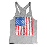 Мужская майка для бодибилдинга флаг USA (США), серая
