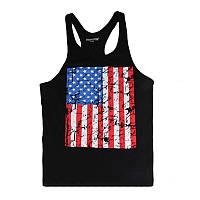 Мужская майка для бодибилдинга флаг USA (США), черная