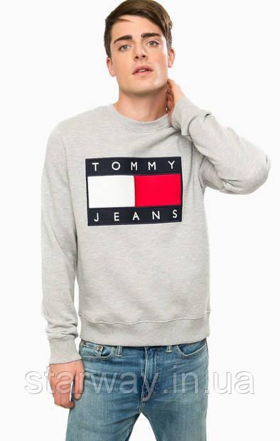 Свитшот серый в стиле томми хилфигер   кофта с принтом томми джинс