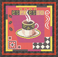 Схема для полной вышивки бисером - Ароматная кружка кофе экспрессо, Арт. НБп19-1-2