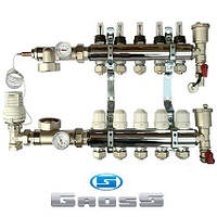 Коллектор для теплого пола GROSS в сборе на 4 контура(ХРОМ)