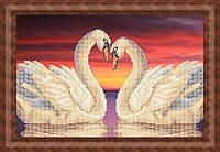 Схема для частичной вышивки бисером - Пара лебедей на закате, Арт. ЖБч4-22