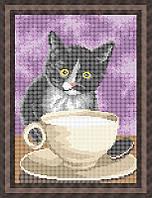 Схема для полной вышивки бисером - Котенок и кружка молока, Арт. ЖБп4-23