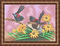 Схема для полной вышивки бисером - Птички в цветах, Арт. ЖБп4-27
