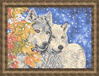 Схема для полной вышивки бисером - Волки ранней зимой, Арт. ЖБп3-63