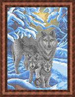 Схема для полной вышивки бисером - Волчица и волчата в зимнем лесу, Арт. ЖБп3-65