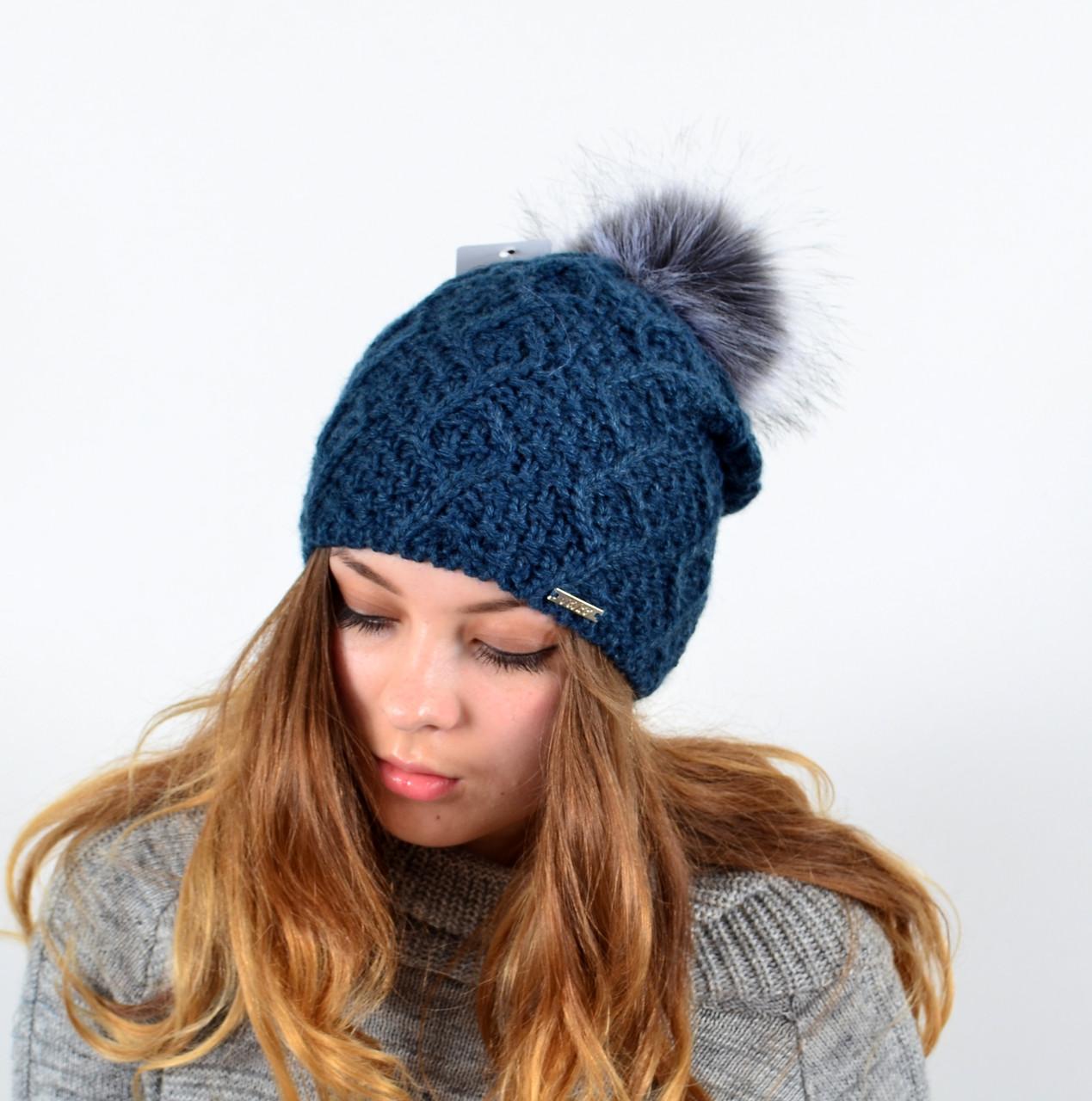 """Женская шапка с помпоном """"3313"""" джинс"""