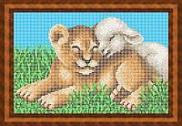 Схема для полной вышивки бисером - Мир-лев и ягненок, Арт. ЖБп4-32