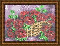 Схема для полной вышивки бисером - Розы в корзине, Арт. НБп3-67